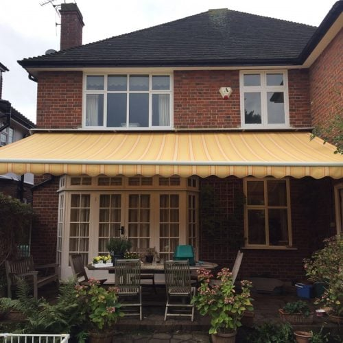 A lovely domestic patio canopy