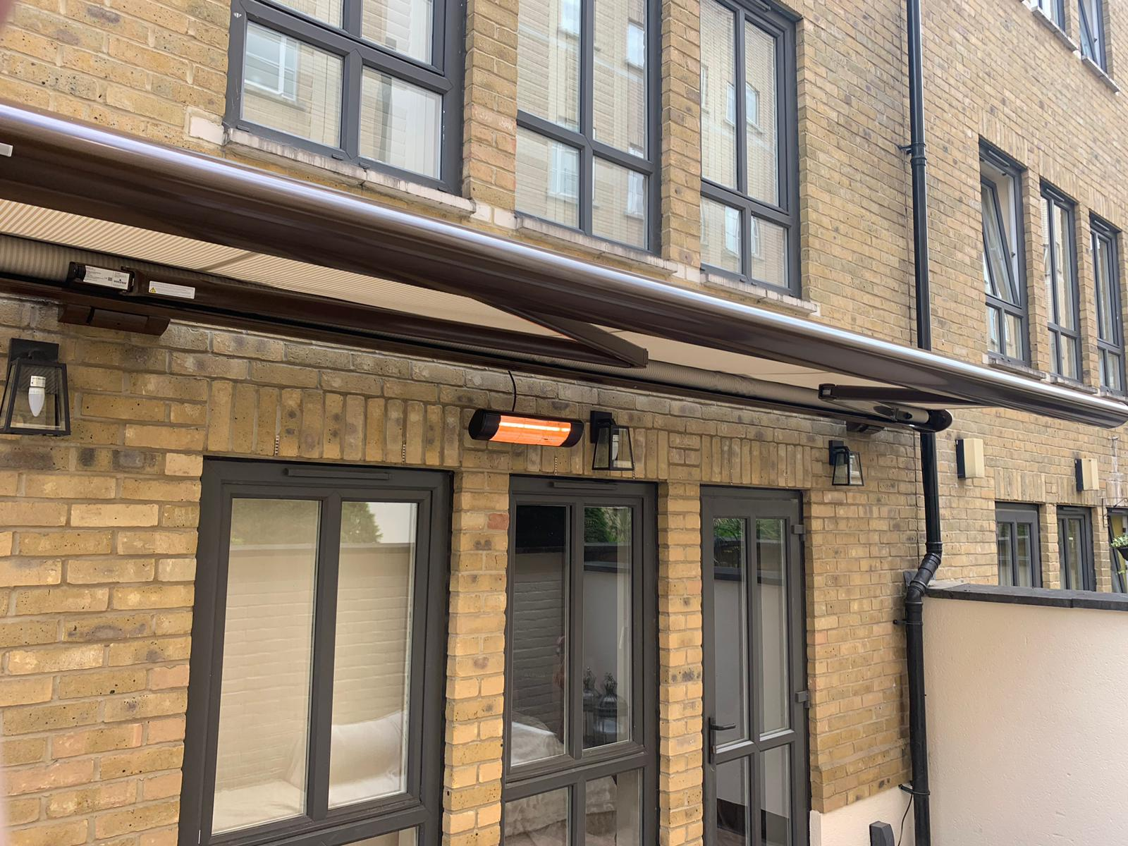 Patio Awning with heater   Radiant Blinds Ltd