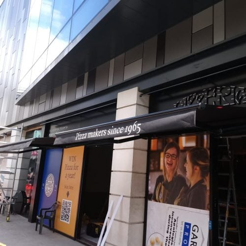 Pizza Express Bradford Classic Folding Arm Awnings