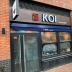 Shop front recessed commercial awning – Koi Ramen – Elephant Park – London